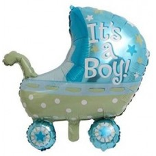 CherishX.Com Printed Baby Shower Pram Foil Balloon in Blue for Boy for Your Baby Shower/Baby Welcoming Party Decoration Letter Balloon