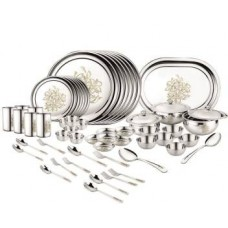 Classic Essentials Pack of 68 Stainless Steel Glory Dinner set ,68-Pieces,Silver -Heavy Gauge with Permanent Laser Design Dinner Set