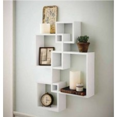 Decorhand Wall Mount Set of 4 White Wall Shelves Storage Rack Shelves Wooden Wall Shelf  (Number of Shelves - 4, White)