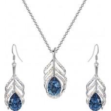 Divastri  Crystal Jewel Set  (Blue, Silver)