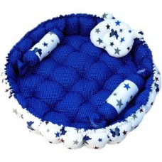 Fabrify Baby reversible round bedding tub set cum mattress with 3 multi-shape pillows for newborns to toddlers Cotton Bedding Set  (Blue)
