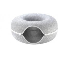 Goofy Tails Donut Cat Felt Bed House  Easy Zipper Felt Bed House for Cats/Kittens/Small Pets (L-50 * H-10cm) S Pet Bed  ((Light Grey))