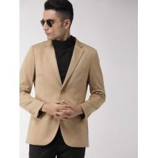 Indian Terrain  Solid Single Breasted Casual Men Full Sleeve Blazer  (Beige)