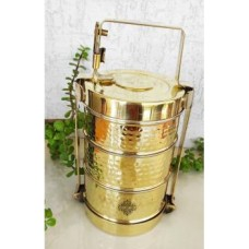 IndianArtVilla Handmade Brass Tier With Tin Lining Three Compartments Office Tiffin Lunch Box , Volum 2400 ML, Height 11 Inch ,Gold 3 Containers Lunch Box  (2400 ml)