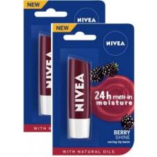 NIVEA Blackberry Fruity Shine Lip Balm Blackberry  (Pack of: 2, 9.6 g)