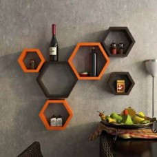 Onlineshoppee Hexagonal MDF (Medium Density Fiber) Wall Shelf  (Number of Shelves - 6, Brown, Orange)