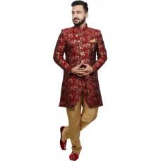 SG RAJASAHAB  Men Sherwani and Churidar Set Raw Silk
