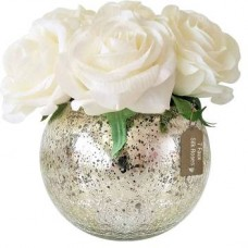 Shrih Faux White Rose Flowers with Mercury Glass Vase White Rose Artificial Flower with Pot  (5.5 inch, Pack of 5)