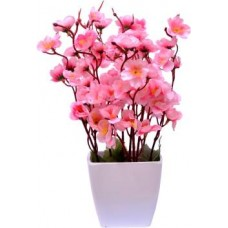 Yash Enterprises Small pink cherry blossom Bonsai Artificial Plant with Pot  (25 cm, Pink)