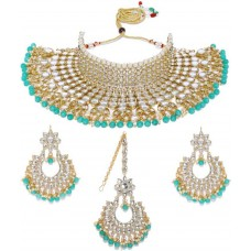 Zaveri Pearls  Zinc Jewel Set  (Gold, Turquoise)