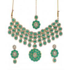 Zaveri Pearls  Stone Jewel Set  (Green)