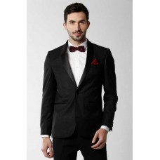Peter England  Solid Single Breasted Party Men Blazer  (Black)