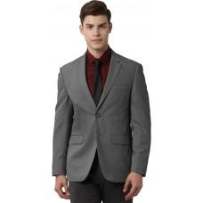 Peter England  Solid Single Breasted Formal Men Blazer  (Grey)
