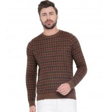 Printed, Self Design Round Neck Casual Men Brown Sweater